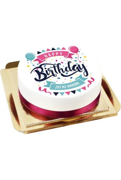 Nuga Doğum Günü Butik Pasta (10 Dilim Parça Çikolatalı)