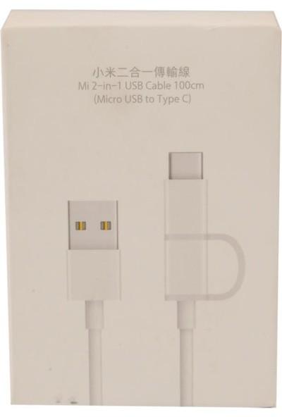 Xiaomi 2in1 Type-C ve Micro USB Şarj/ Data Kablosu 1 Metre - Beyaz