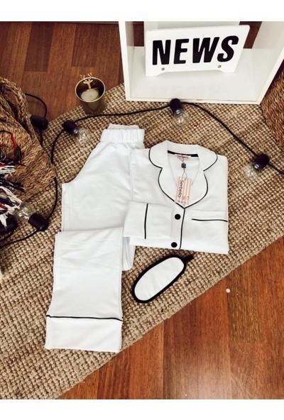 Serbella Beyaz Üzeri Siyah Biyeli Uzun Kollu Pijama Takımı