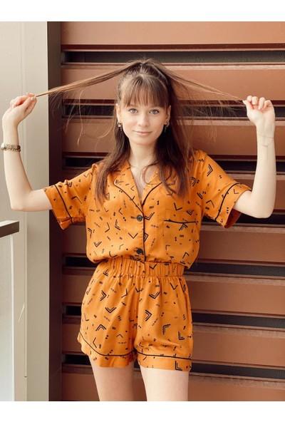 Serbella Etnik Desenli Şortlu Pijama Takımı