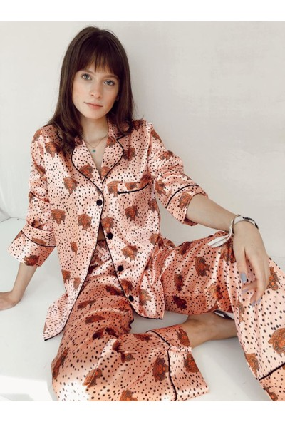Serbella Tiger Saten Uzun Kollu Pijama Takımı
