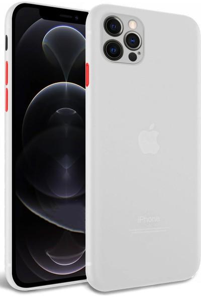 Apple iPhone 12 Pro Kılıf Ince Mat Şeffaf Korumalı Renkli Buton Şeffaf