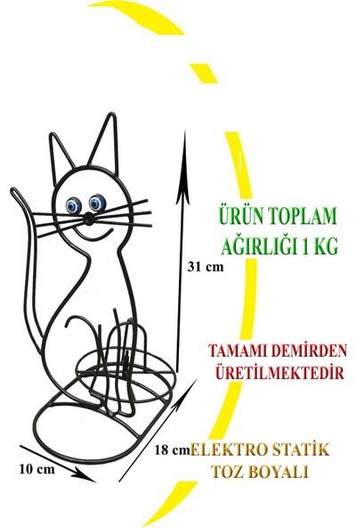 Naz Tasarım Ferforje Kedili Kağıt Havluluk Siyah