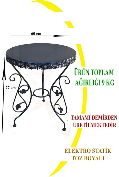 Naz Tasarım Ferforje Masa 60 cm Çapında Siyah