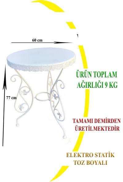 Naz Tasarım Ferforje Masa 60 cm Çapında (3 Kişilik) Beyaz