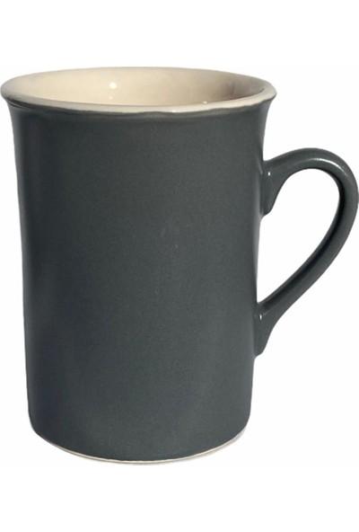 Keramika Silindirik Kupa 9 cm. Gri-Beyaz 2'li Set