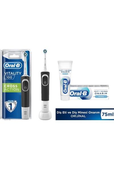 Oral-B Vitality Cross Action Black Şarjlı Diş Fırçası + Oral-B Onarım Orijinal 75 ml