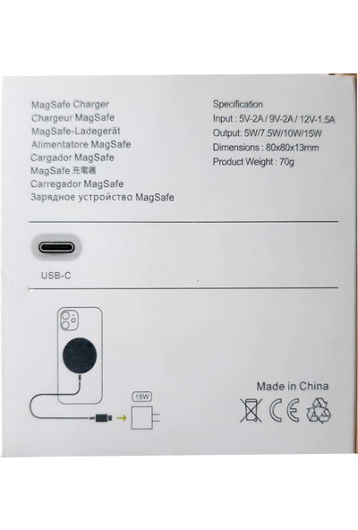Bizim Stok Magsafe Charger Type-C 15W Kablosuz Şarj Cihazı