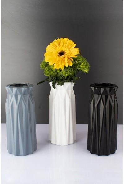 Pazarika Seramik Görünümlü Renkli 3 Adet Dekoratif Vazo Çiçeklik