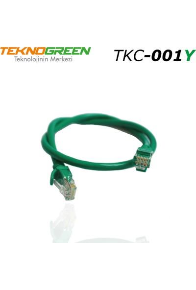 Teknogreen TKC-001Y Utp Cat6 1 mt Yeşil Patch Kablo
