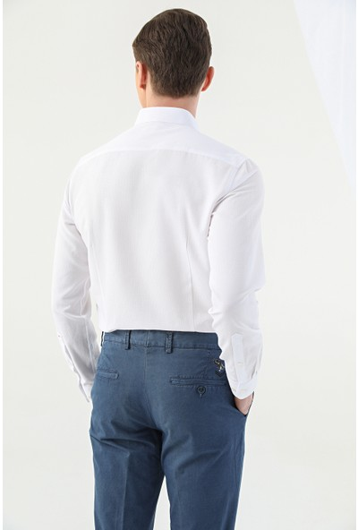 D'S Damat Tween Slim Fit Beyaz Gömlek