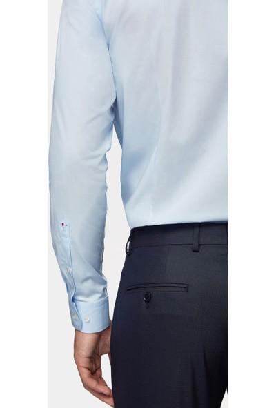 D'S Damat Tween Slim Fit Mavi Düz Gömlek