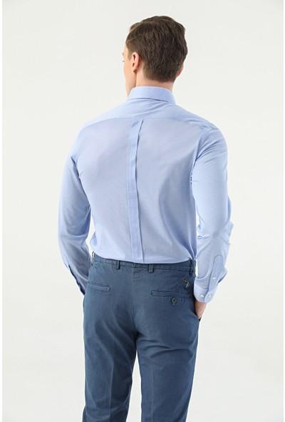 D'S Damat Damat Slim Fit Mavi Çizgili Gömlek