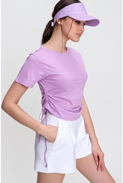 Pinkpark Yanları Büzgülü Bisiklet Yaka T-Shirt TI00013