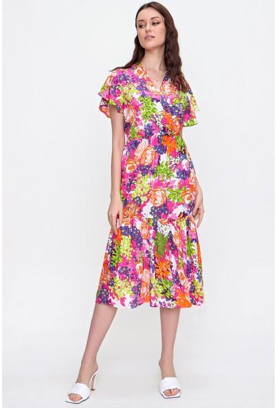 Pinkpark Kruvaze Çiçek Desenli Eteği Valonlu Dokuma Viskon Elbise RD00016