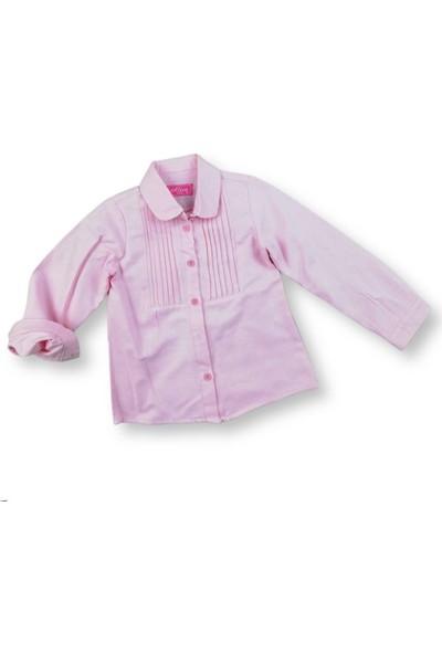 MNK Pileli Pembe Kız Çocuk Gömlek