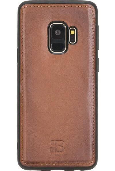 Burkley Samsung Galaxy S9 Efektli Kahverengi Fermuarlı Deri Cüzdan Telefon Kılıfı