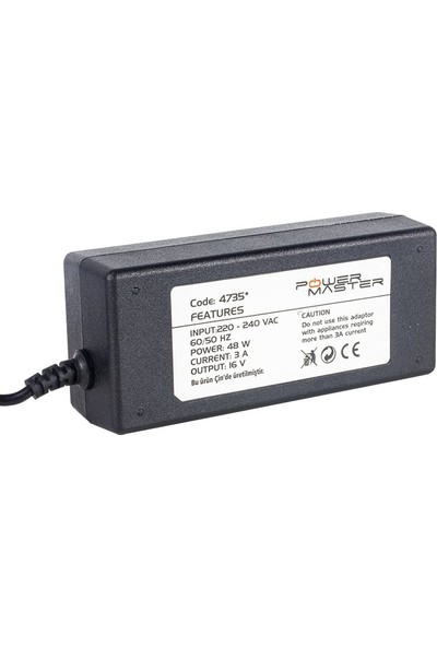 Powermaster PM-4735* 16 Volt 3 Amper Tos Rca Uçlu Santral Adaptörü