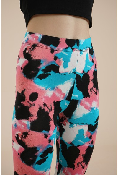 Wotto Collection Kadın Batik Renkli Tayt