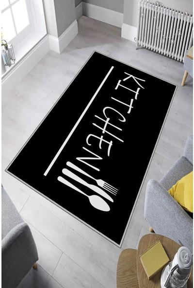 İon Dijital Baskılı Kaymaz Taban Yıkanabilir Siyah Kitchen Yazılı Mutfak Halısı