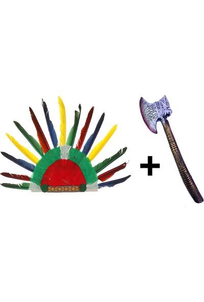 Samur Rengarenk Kızılderili Tüylü Başlık ve Plastik Kızılderili Baltası