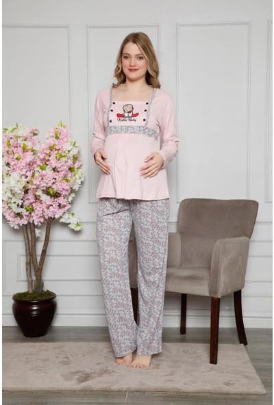 Akbeniz Kadın %100 Pamuklu Hamile Pijama Takımı 4514