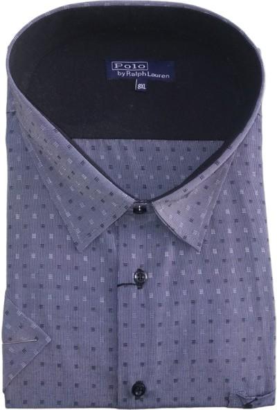 Polo Erkek Büyük Beden Kısa Kollu Desenli Tek Cepli Gömlek