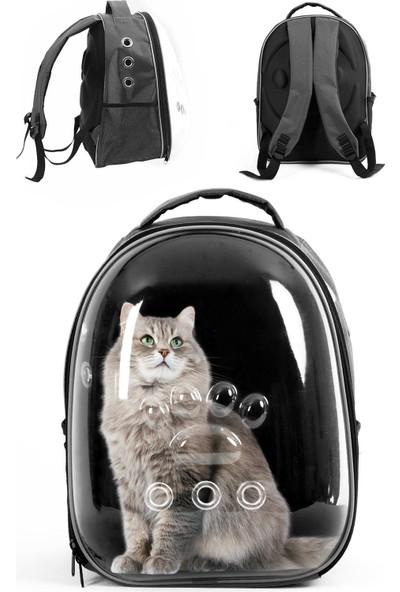 Astronot Şeffaf Kedi ve Köpek Taşıma Çantası Füme