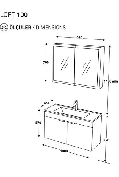 Biani Fix Loft 100 cm Banyo Dolabı Renk Aybe Bej