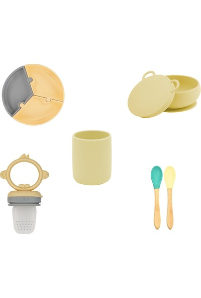 OiOi Beslenme Seti Mega Set Puzzle Tabak+ Bardak+ Bambu Kaşık+ Kase + Meyve Emziği Silikon