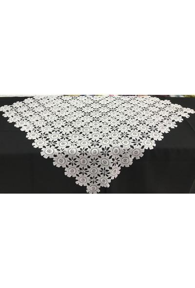 Köşem Çeyiz El Işi Dantel Papatya Modeli Şömen Tablo Örtüsü 70X70 cm