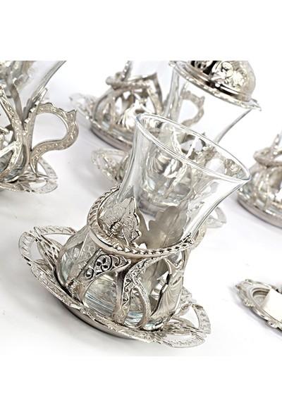 Osmanlı Motifli 6 Kişilik 30 Parça Çay Bardağı Seti