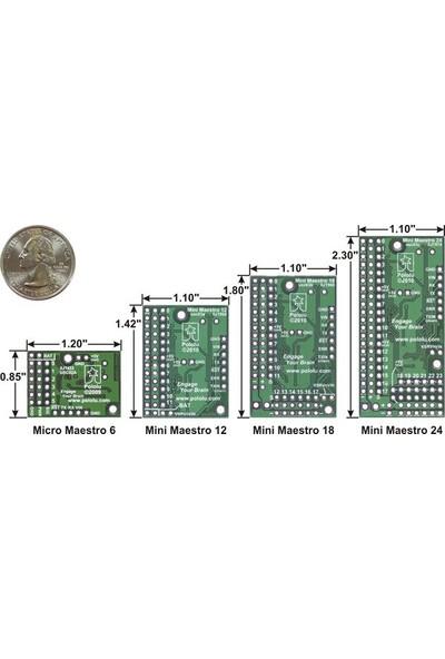 Pololu 24 Kanal USB Servo Motor Kontrol Devresi - Micro Maestro 6-Channel USB Servo Controller