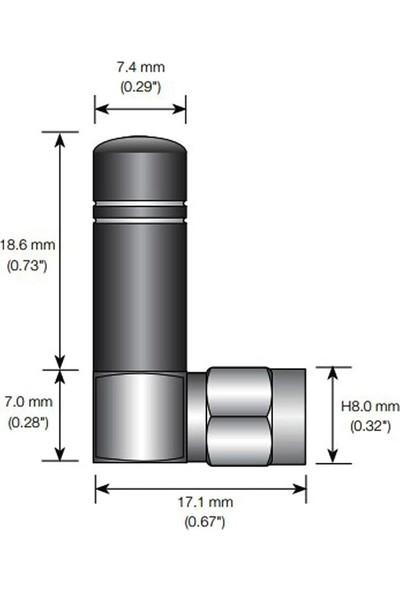 Linx 2.35GHZ-2.6GHZ Sağ Açılı 90 Derece Rf Anten 1.6dbi 25.60MM Sma Male