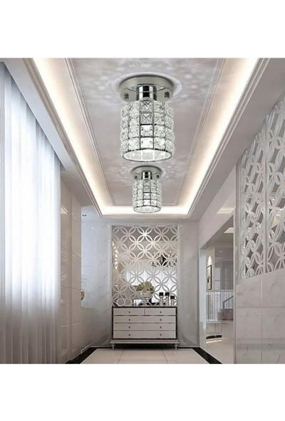 Işıksan Aydınlatma Modern Luxury Plafonyer Kristal Taşlı Avize Krom