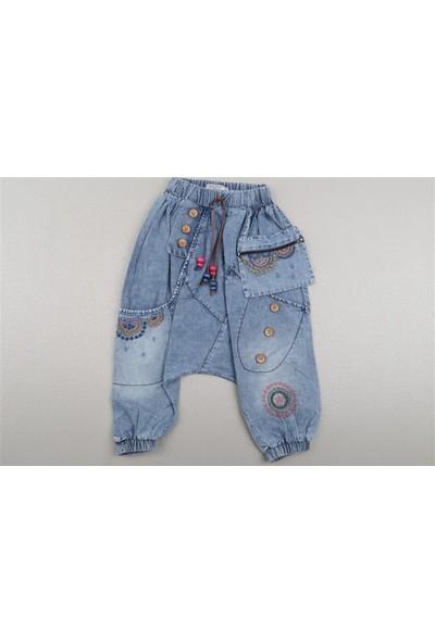 Kendinden Cüzdanlı, Düğme ve Işleme Detaylı Kot Şalvar Pantolon