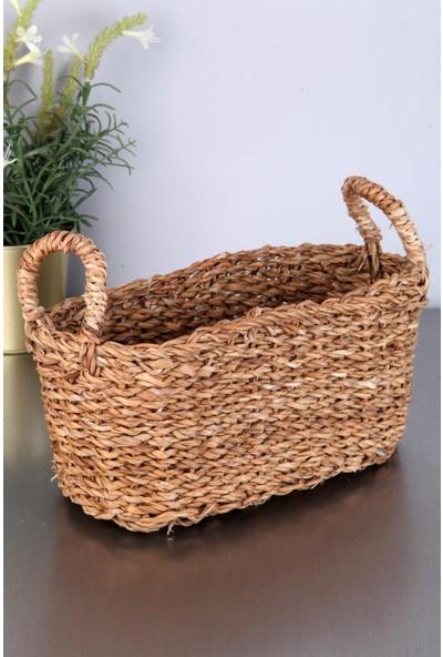 Cosargroup Hasır Oval Kulplu Sepet Ekmek Sepeti Çok Amaçlı Sepet 30 x 15 x 13 cm
