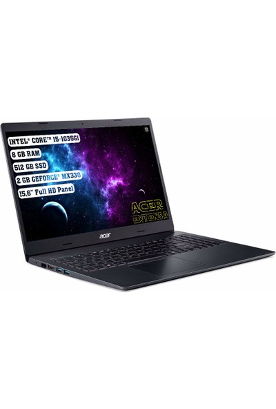 "Acer Extensa 15 Intel Core I5 1035G1 8gb 512GB SSD MX330 Freedos 15.6"" Fhd Taşınabilir Bilgisayar NX.EGCEY.002"