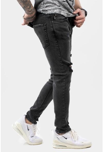 Deepsea Antracite Erkek Taşlanmış Yırtmaçlı Dar Paça Kot Pantolon 2100103