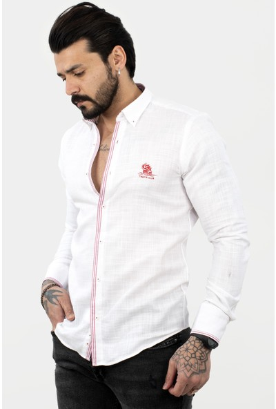 Deepsea Beyaz-Kırmızı Erkek Regular Fit Çizgi Şeritli Uzun Kol Gömlek 2104308