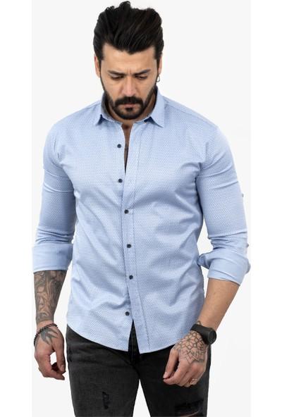Deepsea Mavi Açık Erkek Petek Desen Uzun Kol Likrali Erkek Gömlek 2101844