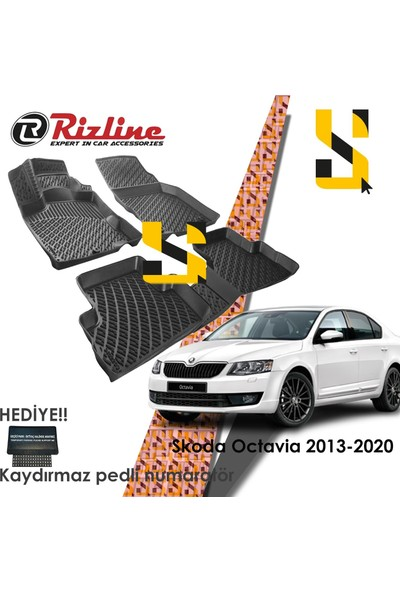 Rizline Us Rizline Skoda Octavia 2013-2020 3D Havuzlu Paspas