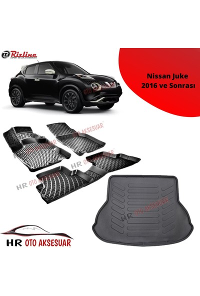 Rizline Hroto Rizline Nissan Juke 2016 Sonrası 3D Havuzlu Paspas + Bagaj Havuzu