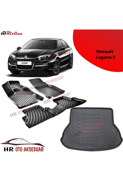 Rizline Hroto Rizline Renault Laguna 2 3D Havuzlu Paspas + Bagaj Havuzu