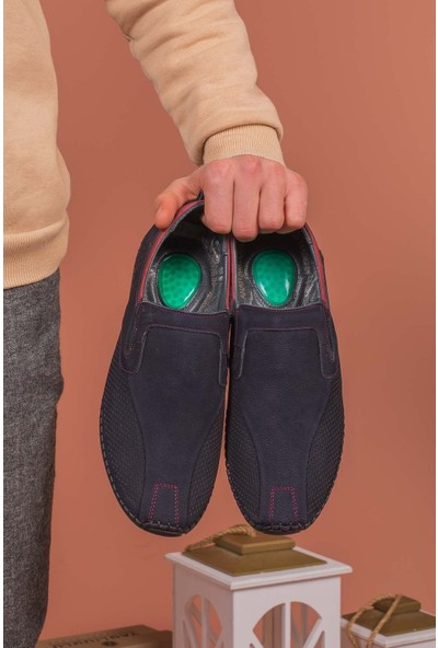 Yağlıoğlu Kunduraerkek Lacivert Hakiki Deri Topuk Jelli Günlük Ayakkabı YGL506