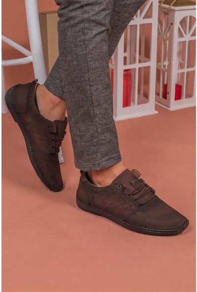 Yağlıoğlu Kunduraerkek Kahverengi Hakiki Deri Topuk Jelli Günlük Ayakkabı YGL504