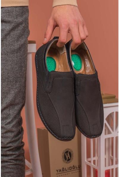 Yağlıoğlu Kunduraerkek Siyah Hakiki Deri Topuk Jelli Günlük Ayakkabı YGL506