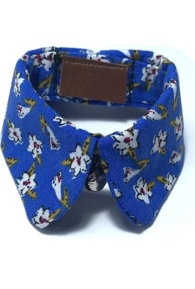 Pething Mavi Çiçek Desenli Mavi Kedi & Köpek Yaka Tasma
