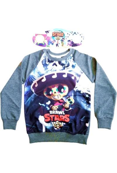 Brawl Stars Erkek Çocuk Gri Sweatshirt Yanında Maskesiyle