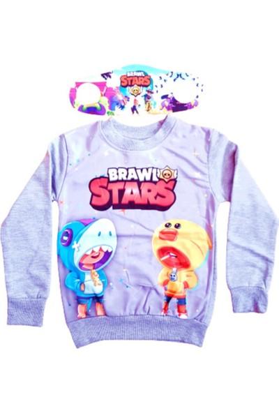Brawl Stars Erkek Çocuk Brawl Stars Özel Tasarım Sweatshirt Yanında Maskesiyle